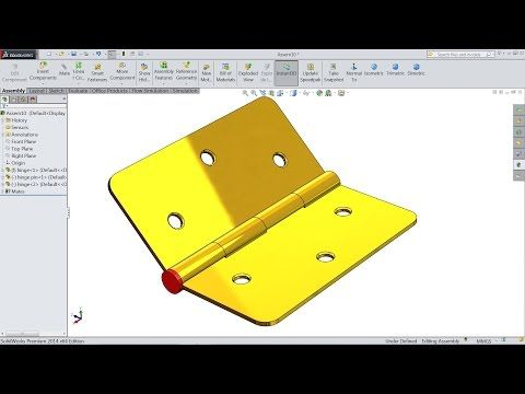 Solidworks Tutorial Design And Assembly Of Hinge In Solidworks Youtube Cizim