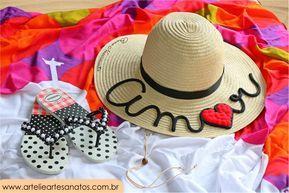 Chapeu personalizado para noivas e madrinhas - Chapeu de noiva personalizado - vem chegando o verão