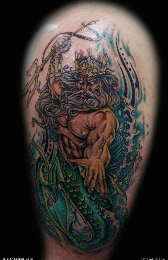 king neptune tattoos pictures to pin on pinterest tattooskid. Black Bedroom Furniture Sets. Home Design Ideas