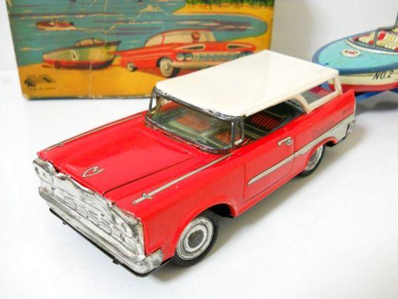 1950s Ichimura Chrysler & boat trailer tin   eBay