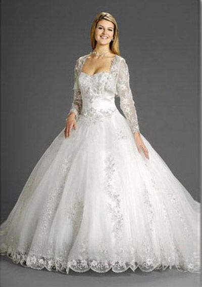 Ball-Gown Sweetheart Chapel Train Satin Tulle Wedding Dresses with Lace