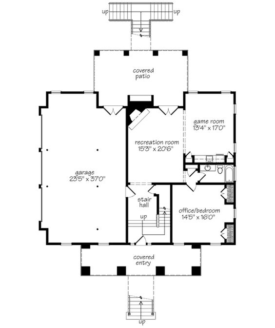SL-1168 basement - I'd reconfigure this pace a little. I'd prefer 2 smaller bedrooms (one for guests and one for a music studio), full bath, and leave the rest open for a large rec room.