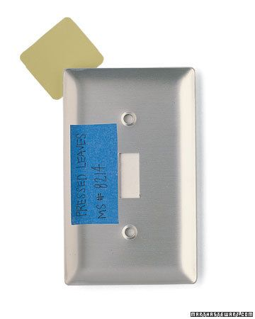 Paint Color Reminder    When you finish painting a room, touch-ups are usually the last thing on your mind. But it's a good idea to write the paint name and product number on painters' tape and stick the label to the back of the room's light-switch plate. When the time comes to cover scuffs, you'll know exactly what shade to buy.