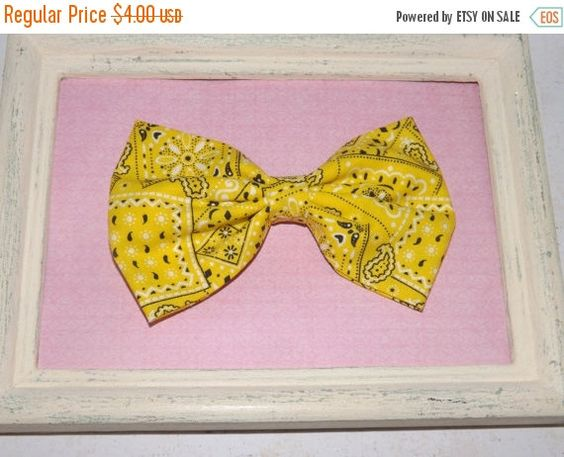 ON SALE Yellow bandanna fabric bow western hair by FabricBowDepot