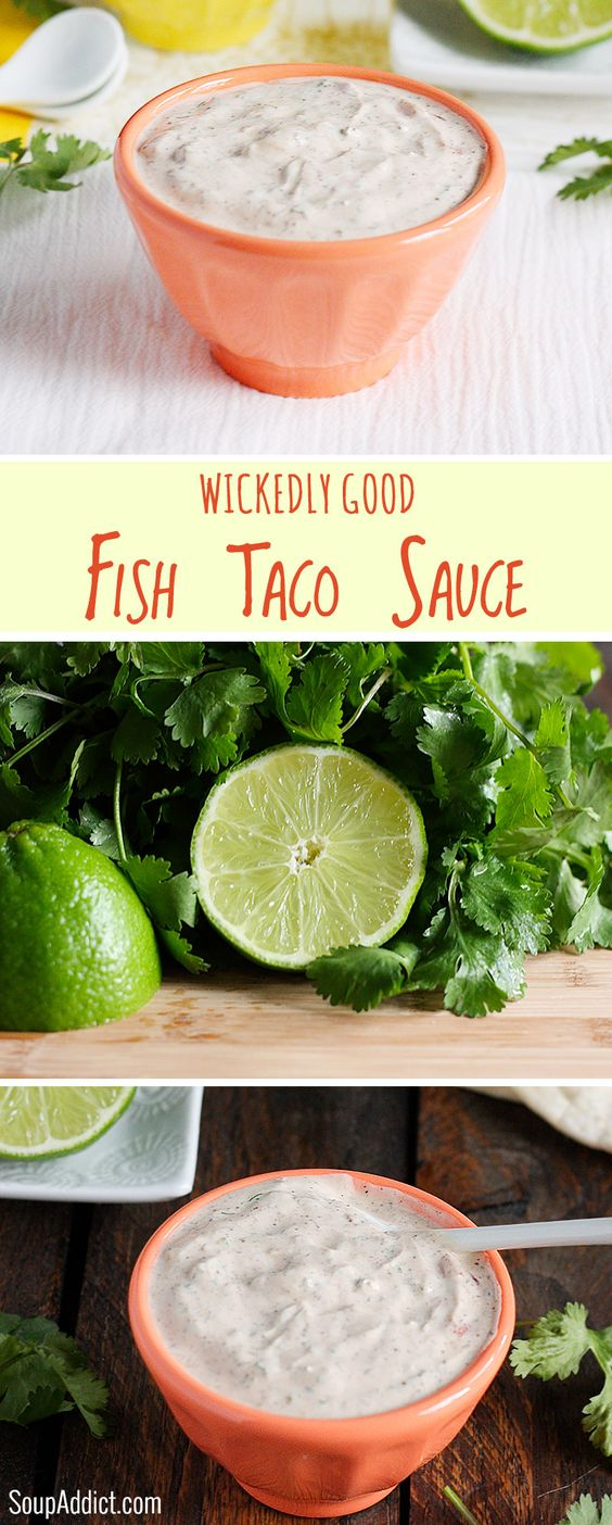 Wickedly good fish taco sauce recipe tacos sauces and bar for Sauce for fish tacos