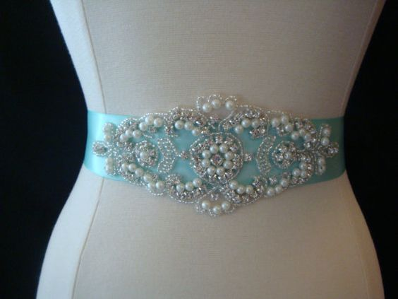 Wedding dress sashes wedding and satin ribbons on pinterest for Pearl belt for wedding dress