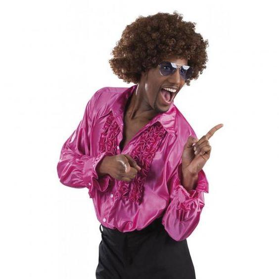 r schenhemd pink 70er 80er jahre disco hemd schlagerparty. Black Bedroom Furniture Sets. Home Design Ideas