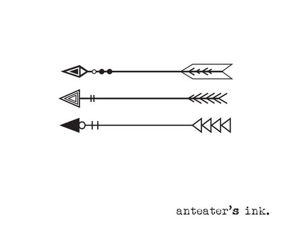 3 arrow tattoos - put 1, 2 or all 3 anywhere on your body! Anteaters original design. ★ come in two sizes: choose your size from the drop down menu