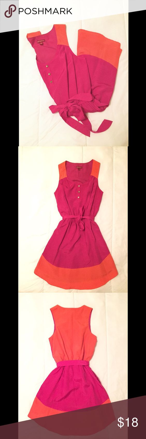 Merona Color Block Dress Vibrant pink and orange highlight this dress. It fits like a comfortable shirt dress with a tie waist! The selling feature is sure to be the incorporated POCKETS! Perfect for a day at the office of running errands. FIT: true to size. Leave any questions or comments below! Thanks! -MC shop ✌🏼️ Merona Dresses