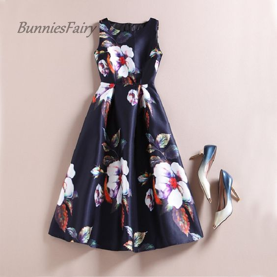 BunniesFairy Celebrity inspired Women Elegant Vintage Retro Flower Floral Print Vest Dresses Sleeveless O Neck Vestido de Fiesta-in Dresses from Women's Clothing & Accessories on Aliexpress.com | Alibaba Group