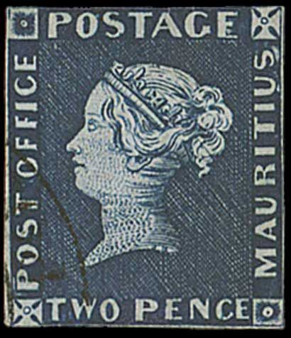 Mauritius Post Office 1847 2d blue stamp. It sold for £1.08m, making it the most expensive stamp ever auctioned in a UK saleroom and the most valuable stamp auctioned during 2011. The specimen is regarded as the most beautifully preserved of the 27 known surviving examples.
