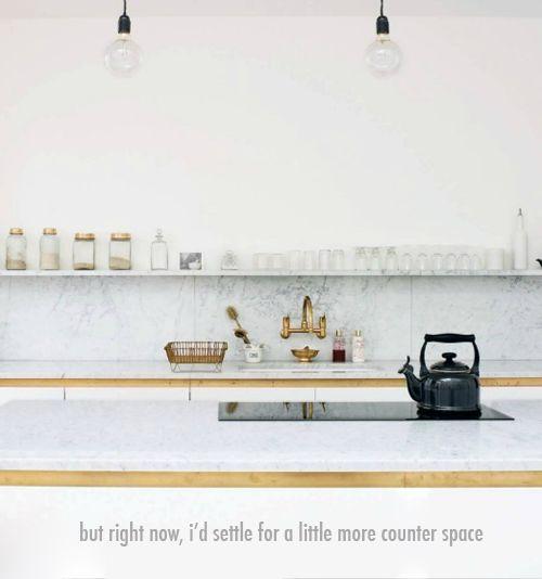 Brass & White kitchen