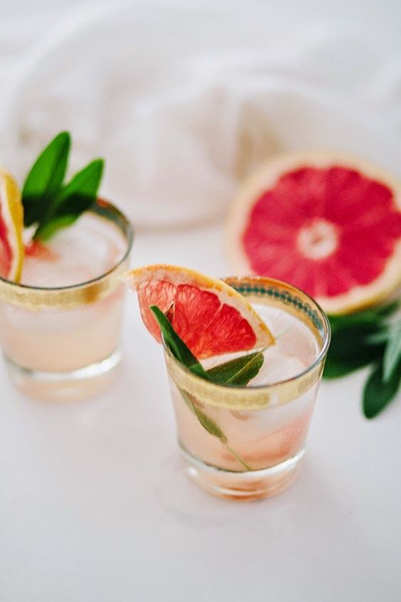 Champagne, Grapefruit + Sage Cocktail. So pretty!