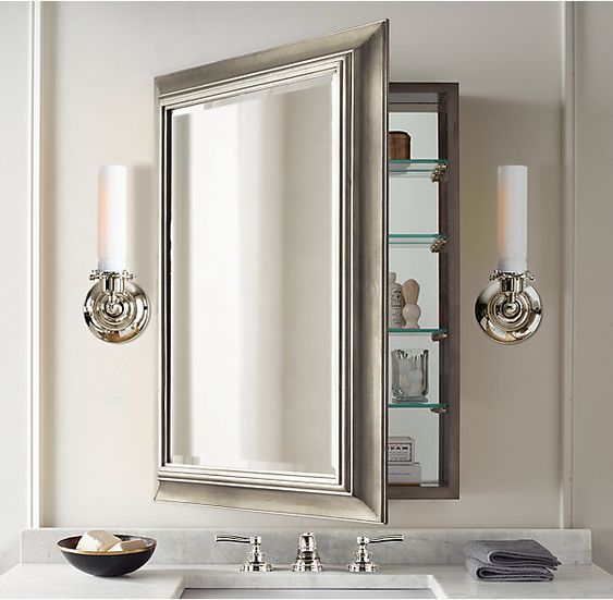 Mirror cabinets aesthetics and cabinets on pinterest - Large medicine cabinet mirror bathroom ...