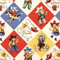 colourful Michael Miller retro fabric cowboys western - Retro Fabric - Fabric