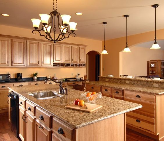 Oak Cabinets Kitchen Island Designs: Interesting-oak-cabinets-with-granite-countertops-marble