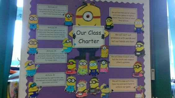 Minion class charter. Each child decorated their own minion. We chose the articles we thought were important from The UN Childrens rights charter and made our own promises to match.