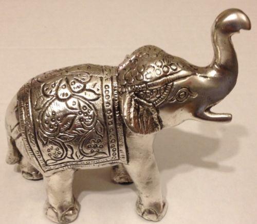 Silver Elephant Figurine Trunk Up Good Luck Statue India Decor Feng Shui India Decor Elephant Figurines Elephant Decor