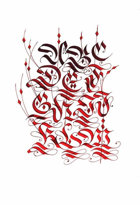 Fraktur Alphabets On Behance Caligrafia Pinterest