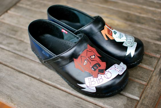 Custom Hand Painted Dankso Sanitas Clogs featuring Pet Dogs by BStreetShoes on Etsy https://www.etsy.com/listing/167082292/custom-hand-painted-dankso-sanitas-clogs