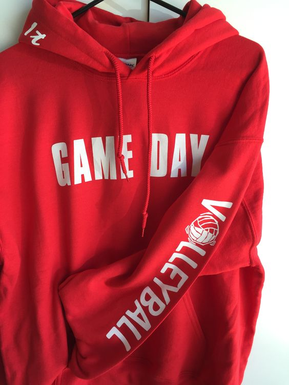 "- Our newest line of apparel ""GAME DAY"" Fun to pick your team or school color. They say Bring It on the Hood and Volleyball on the sleeve. - We can make it anyway you like, just leave us a comment at:"
