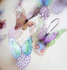 New Organza Butterfly Earrings  Transfer on organza
