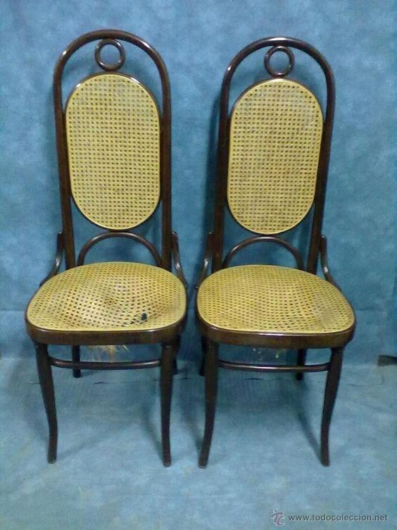 Pareja de sillas sin epoca estilo thonet respaldo alto - Silla sin respaldo ...