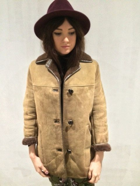 Women's Vintage Brown 70's Sheepskin Suede leather coat jacket