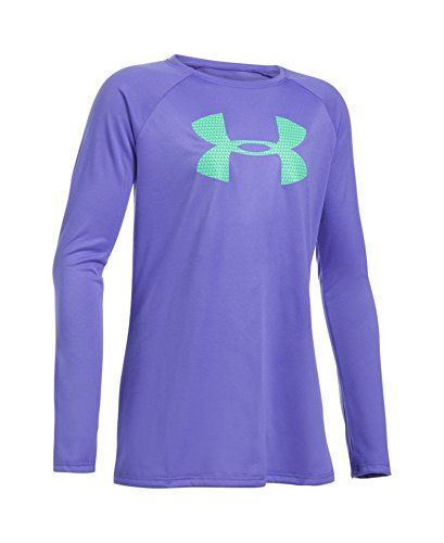 Under Armour Girls' UA Big Logo Long Sleeve T-Shirt Youth Large VIOLET STORM. UA TechTM fabric has an ultra-soft, more natural feel for unrivaled comfort. Moisture Transport System wicks sweat away from the body. Anti-odor technology prevents the growth of odor causing microbes.
