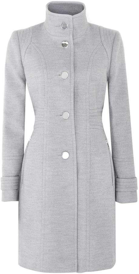 Grey Zip Pocket Funnel Coat