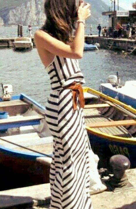 #Nautical stripes.  Fringe Dress #2dayslook #FringeDress  #susan257892 #jamesfaith712  www.2dayslook.com: