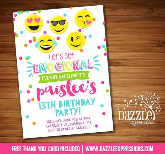 Printable Tween Emoji Birthday Invitation