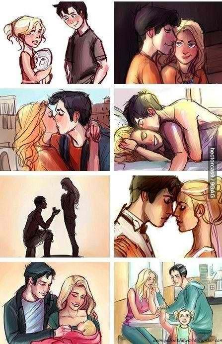 Is this supposed to be Percy and Annabeth? The girl has gray eyes and blonde hair, like Annabeth in the books; the boy has black hair with what looks like blue eyes, like Percy. When it shows them as young teens, they are wearing orange shirts and necklaces with beads (like the Camp Half-Blood outfits). Also, in the kissing picture, it looks like Greek (or Roman) buildings are in the background. Is this really them and this is a cruel trick? Or am I wrong?