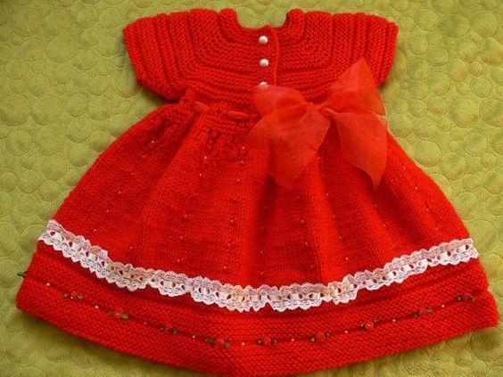 Kırmızı örgü çocuk elbisesi1