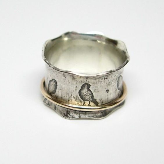 .Birds on a Wire Sterling Silver and 10k Gold Spinner Ring janiceartgallery