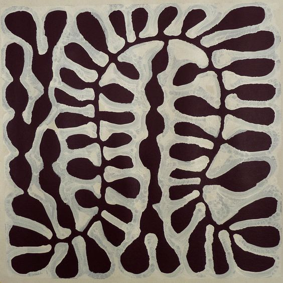 Untitled by Australian Aboriginal artist Mitjili Napurrula (b.c.1945). Acrylic on linen, 600 x 600 cm. via Adelaide Aboriginal Art