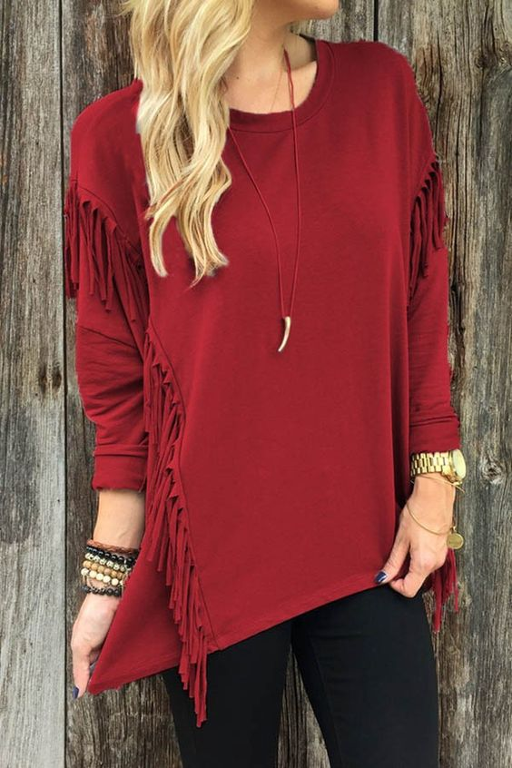 Fringe Detail Long Sleeve Stylish High Low Top Shirt