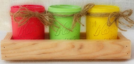 Check out this item in my Etsy shop https://www.etsy.com/listing/200143790/bright-color-mason-jar-vase-centerpiece