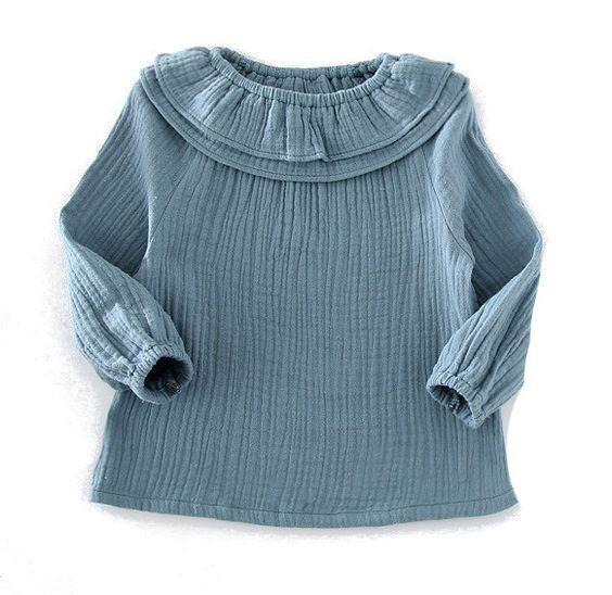 Hängerchen & Tuniken - BIO gauze Tunika-Bluse taubenblau - ein Designerstück…