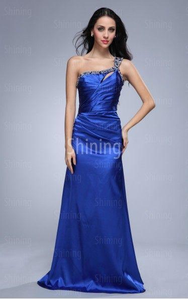noble colour Royal-Blue A-line Floor-length One-Shoulder Dress in http://www.shiningdress.co.uk