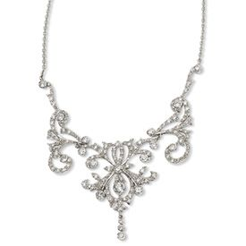 Sterling Silver CZ Fancy Scroll 17in w/2in ext Necklace...1920's art deco look.. perfect for a wedding dress.. $290.00