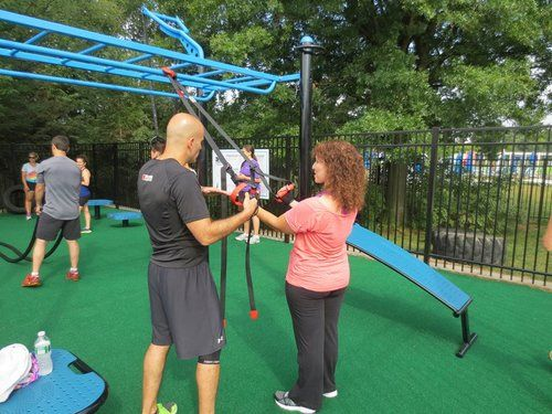 Jcc Fitness Adds Movesrrong Outdoor Outdoor Gym Outdoor Fitness Equipment Outdoor Workouts