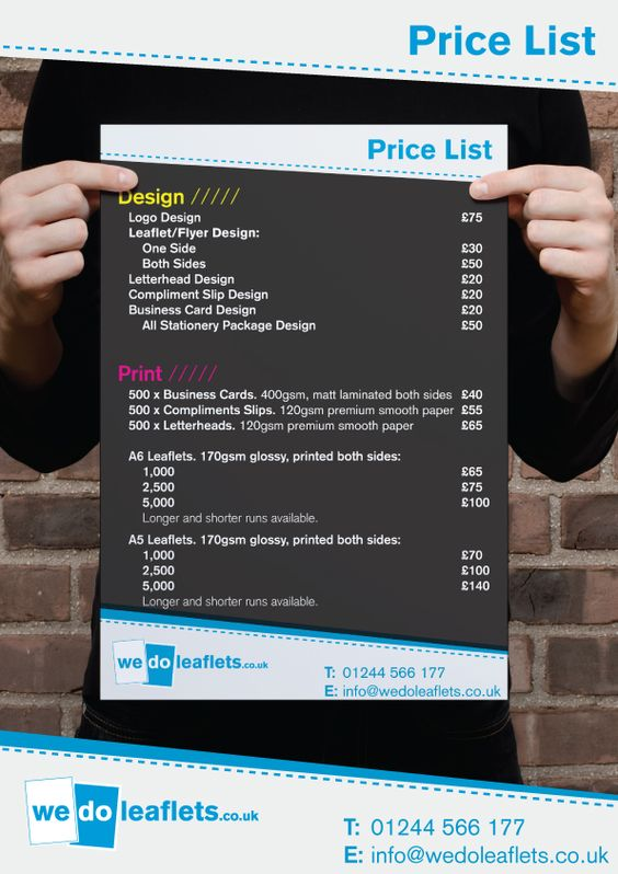 Graphic Design And Printing Price List Excel Template