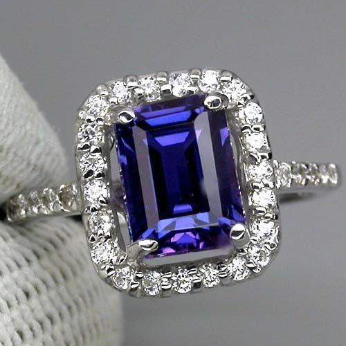 vintage emerald cut 3ct blue purple sapphire
