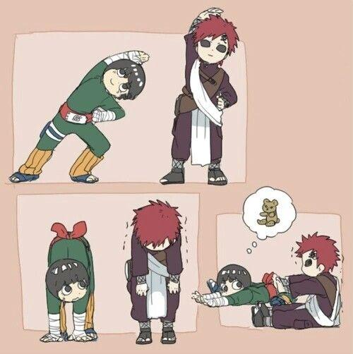 Rock Lee, Gaara, funny, comic, stretching exercises, cute; Naruto