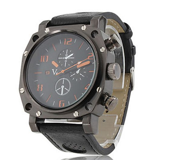 Hot products !!!1Gladiator - Men's Sport Style Black Case PU Band Quartz Wrist Watch $8.50