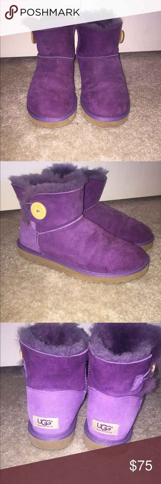 Ankle length UGG booties Purple ankle length authentic UGG booties. NEVER WORN BEFORE NWOT!!! The fur on the inside is not matted down yet and everything is still in tact. In perfect condition!! UGG Shoes Ankle Boots & Booties