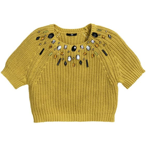 H&M Jumper with beaded embroidery (79 BRL) ❤ liked on Polyvore featuring tops, sweaters, h&m, jumpers, yellow, h&m sweater, cotton sweater, yellow short sleeve sweater, short sleeve jumper and yellow sweater
