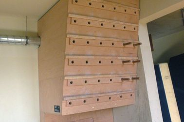 Combined campus board and peg board | Climbing wall ideas ...
