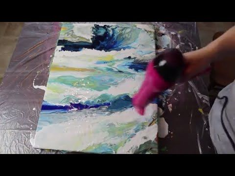 How To Acrylic Fluid Pour With A Hair Dryer Stormy Seas Youtube